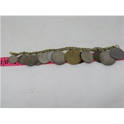 "BRACELET WITH WORLD COINS, APPROX 8"" LONG"