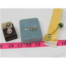 SPOON, SETS PEARL PIERCED EARRINGS, MATCHING CLIP-ON EARRINGS & PENDANT