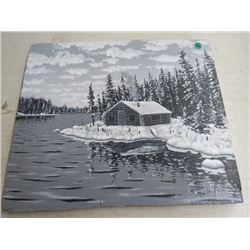 PAINTING OF CABIN, UNFRAMED BY JAMES RATT 17.25X14.75