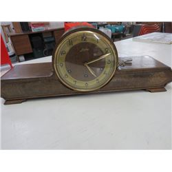 MANTLE CLOCK, JUNGHONY, WORKS, KEY, PENDULUM IN BACK 23.5X9