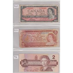 3 TWO DOLLAR BANK NOTES 1954, 1974, 1986