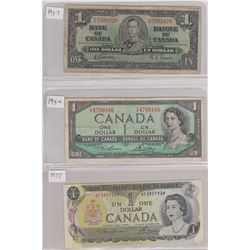 3 ONE DOLLAR BANK NOTES 1937, 1954, 1973