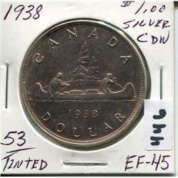 1938 CNDN SILVER DOLLAR, TINTED