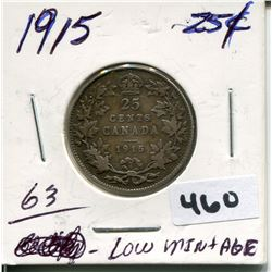 1915 CNDN SILVER QUARTER, LOW MINTAGE