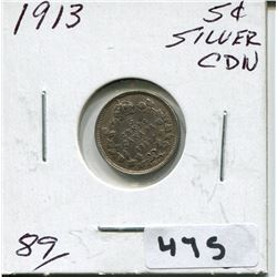 1913 CNDN SMALL SILVER 5 CENT PIECE