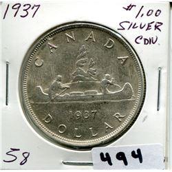 1937 CNDN SILVER DOLLAR UNCIRCULATED