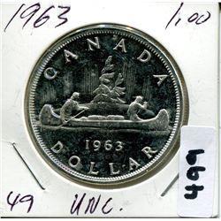 1963 CNDN SILVER DOLLAR UNCIRCULATED