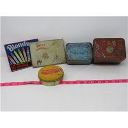 5 TOBACCO TINS, EDGEWORTH, T&B, RENOWNED, ERINMORE, SWEET CORPORAL, 1 BLENDWEL CRAYON BOX