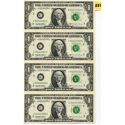 1995 4 UNCUT US ONE DOLLAR BILLS IN FOLDER