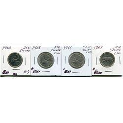 4 CNDN SILVER QUARTERS 1962, 1963, 1966, 1967