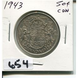 1943 CNDN SILVER 50 CENT PC