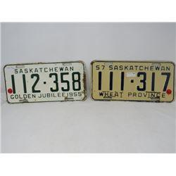 2 SASK LICENSE PLATES 1955 & 1957