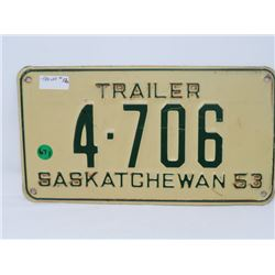 1953 SK TRAILER LICENSE PLATE