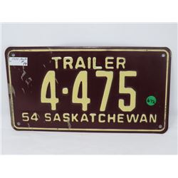 1954 SK TRAILER LICENSE PLATE