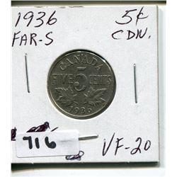 1936 CNDN 5 CENT PC