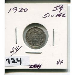 1920 CNDN SILVER SMALL 5 CENT PC