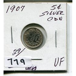 1917 CNDN SILVER SMALL 5 CENT PC