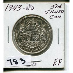 1943 ND CND SILVER 50 CENT PC