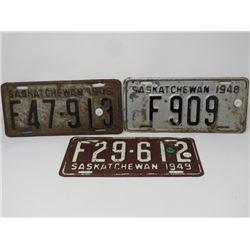 3 SASK LICENSE PLATES 2-1948, 1-1949
