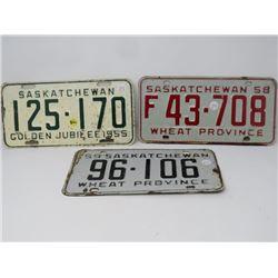3 SASK LICENSE PLATES 1955, F1958, 1959