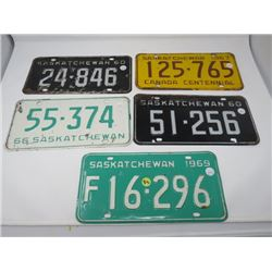 5 SASK LICENSE PLATES 2-1960, 1966, 1967, 1969