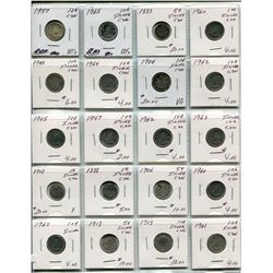 PAGE OF 20 CNDN SILVER DIMES & NICKELS 1888-1965