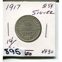 1917 NFLD SILVER QUARTER