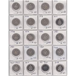 28 CANADA 50 CENT PIECES FROM 1968 TO 2018 1968 IS SILVER