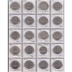 20 CANADA SILVER DOLLARS, 1968-1986