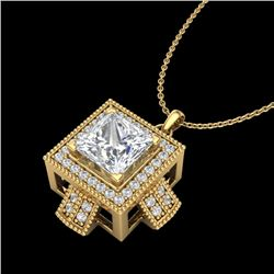 1.46 CTW Princess VS/SI Diamond Micro Pave Necklace 18K Yellow Gold - REF-418W2F - 37195