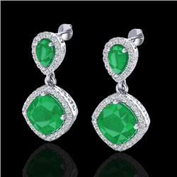 7 CTW Emerald & Micro Pave VS/SI Diamond Earrings Designer Halo 10K White Gold - REF-107F3N - 20205