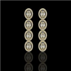 5.33 CTW Oval Diamond Designer Earrings 18K Yellow Gold - REF-982X4T - 42622