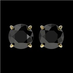 1.50 CTW Fancy Black VS Diamond Solitaire Stud Earrings 10K Yellow Gold - REF-35F3N - 33074