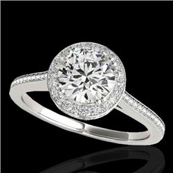 1.55 CTW H-SI/I Certified Diamond Solitaire Halo Ring 10K White Gold - REF-250N9Y - 33526