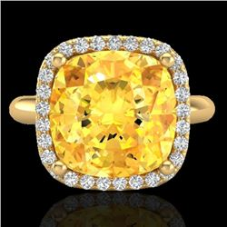 6 CTW Citrine And Micro Pave Halo VS/SI Diamond Ring Solitaire 18K Yellow Gold - REF-58W2F - 23096
