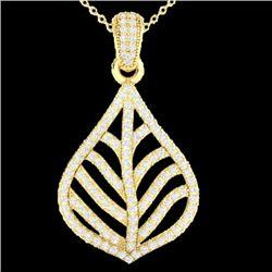 1.25 CTW Micro Pave VS/SI Diamond Necklace Designer 18K Yellow Gold - REF-114F8N - 21286