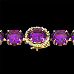 78 CTW Amethyst & Micro Pave VS/SI Diamond Halo Bracelet 14K Yellow Gold - REF-256H8A - 22250