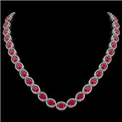 52.15 CTW Ruby & Diamond Halo Necklace 10K White Gold - REF-655Y3K - 40556