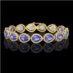 21.06 CTW Tanzanite & Diamond Halo Bracelet 10K Yellow Gold - REF-532W4F - 41245