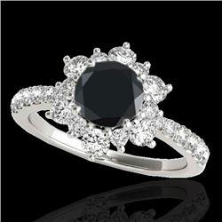 2.19 CTW Certified VS Black Diamond Solitaire Halo Ring 10K White Gold - REF-98Y2K - 33718