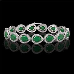 30.06 CTW Emerald & Diamond Halo Bracelet 10K White Gold - REF-393N3Y - 41234