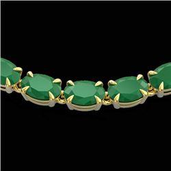 40 CTW Emerald Eternity Tennis Necklace 14K Yellow Gold - REF-254F5N - 23374