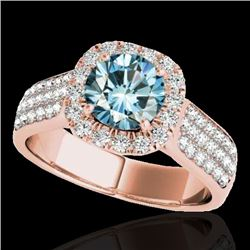 1.8 CTW Si Certified Fancy Blue Diamond Solitaire Halo Ring 10K Rose Gold - REF-209A3X - 34066