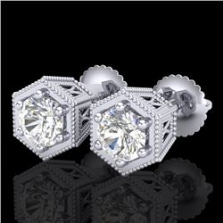 1.15 CTW VS/SI Diamond Solitaire Art Deco Stud Earrings 18K White Gold - REF-174X5T - 37217