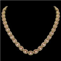 45.98 CTW Morganite & Diamond Halo Necklace 10K Yellow Gold - REF-850W9F - 40567