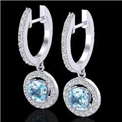 1.75 CTW Sky Topaz & Micro Pave Halo VS/SI Diamond Earrings 18K White Gold - REF-82T8M - 23259