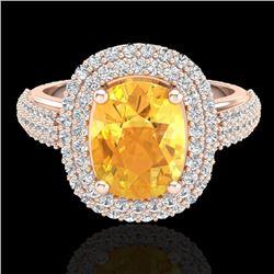 3.50 CTW Citrine & Micro Pave VS/SI Diamond Halo Ring 14K Rose Gold - REF-98F2N - 20714