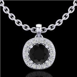 1.1 CTW Fancy Black Diamond Solitaire Art Deco Stud Necklace 18K White Gold - REF-79N3Y - 37996