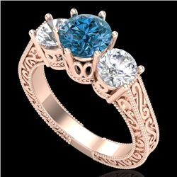 2.01 CTW Fancy Intense Blue Diamond Art Deco 3 Stone Ring 18K Rose Gold - REF-343X6T - 37580