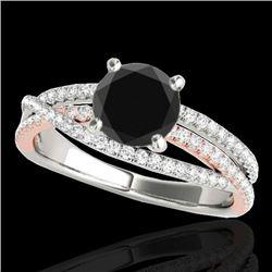 1.65 CTW Certified VS Black Diamond Solitaire Ring 10K White & Rose Gold - REF-78X2T - 35548